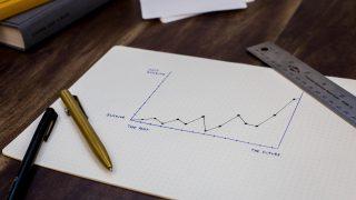 紙に書かれたグラフとペンと定規